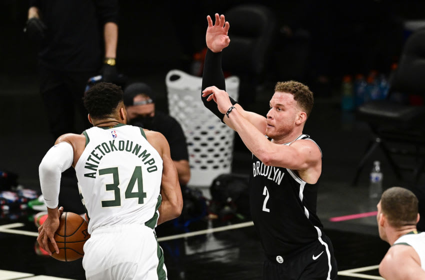 NEW YORK, NEW YORK - JUNE 05: Giannis Antetokounmpo #34 of the Milwaukee Bucks is defended by Blake Griffin #2 of the Brooklyn Nets (Photo by Steven Ryan /Getty Images)