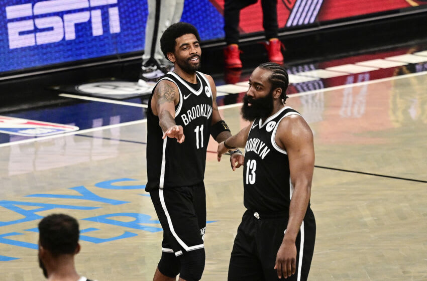 NEW YORK, NEW YORK - MAY 22: Kyrie Irving #11 and James Harden #13 of the Brooklyn Nets (Photo by Steven Ryan/Getty Images)