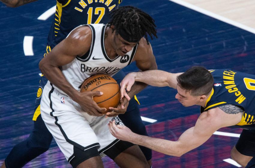 Apr 29, 2021; Indianapolis, Indiana, USA; Brooklyn Nets forward Alize Johnson (24) Mandatory Credit: Trevor Ruszkowski-USA TODAY Sports