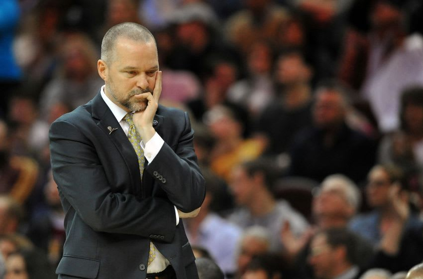 Mar 21, 2016; Cleveland, OH, USA; Denver Nuggets head coach Michael Malone reacts during the fourth quarter against the Cleveland Cavaliers at Quicken Loans Arena. The Cavs won 124-91. Mandatory Credit: Ken Blaze-USA TODAY Sports