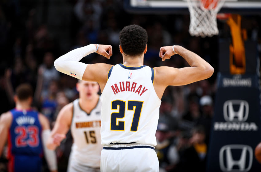 DENVER, CO - MARCH 26: Mason Plumlee #24 of the Denver Nuggets reacts against the Detroit Pistons on March 26, 2019 at the Pepsi Center in Denver, Colorado. NOTE TO USER: User expressly acknowledges and agrees that, by downloading and/or using this Photograph, user is consenting to the terms and conditions of the Getty Images License Agreement. Mandatory Copyright Notice: Copyright 2019 NBAE (Photo by Garrett Ellwood/NBAE via Getty Images)