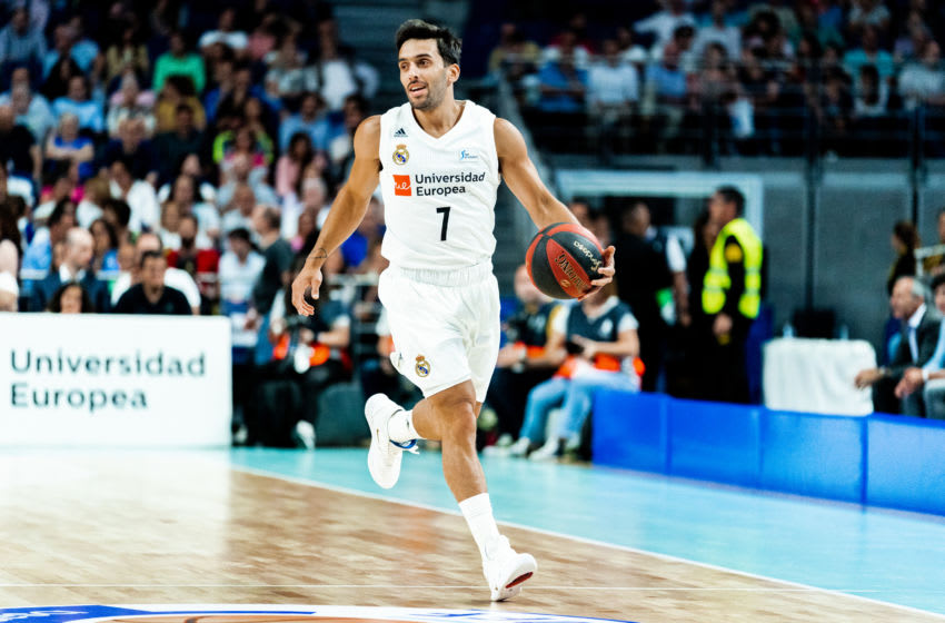 MADRID, SPAIN - MAY 30: Facundo Campazzo in action during the quarterfinals of the Liga ACB match between Real Madrid and Baxi Manresa at Wizink Center on May 30, 2019 in Madrid, Spain. (Photo by Sonia Canada/Getty Images)