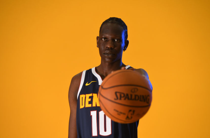 DENVER, CO - SEPTEMBER 30: Bol Bol #10 of the Denver Nuggets poses for a portrait during the Denver Nuggets Media Day at Pepsi Center on September 30, 2019 in Denver, Colorado. NOTE TO USER: User expressly acknowledges and agrees that, by downloading and/or using this photograph, user is consenting to the terms and conditions of the Getty Images License Agreement. (Photo by Justin Tafoya/Getty Images)