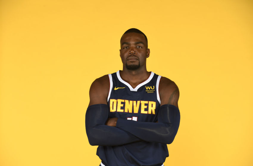 DENVER, CO - SEPTEMBER 30: Paul Millsap #4 of the Denver Nuggetsposes for a portrait during the Denver Nuggets Media Day at Pepsi Center on September 30, 2019 in Denver, Colorado. NOTE TO USER: User expressly acknowledges and agrees that, by downloading and/or using this photograph, user is consenting to the terms and conditions of the Getty Images License Agreement. (Photo by Justin Tafoya/Getty Images)