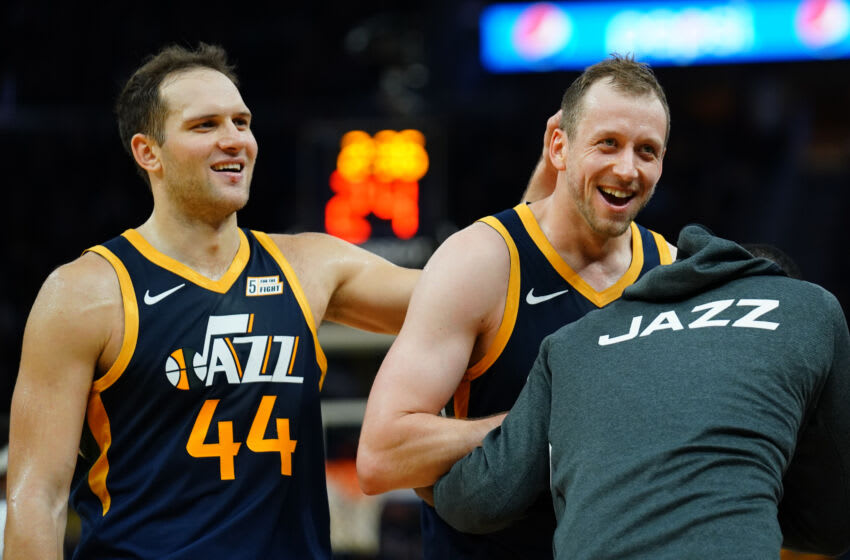 Denver Nuggets potential trade targets: Bojan Bogdanovic and Joe Ingles of the Utah Jazz react to a play on 11 Nov. 2019. (Photo by Daniel Shirey/Getty Images)