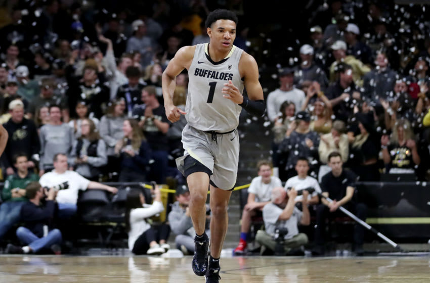 BOULDER, COLORADO - DECEMBER 04: Tyler Bey #1 of the Colorado Buffaloes recovers down court after making the first basket of the game during the first half in a game between the Loyola Marymount Lions and the Colorado Buffaloes at Coors Events Center on December 04, 2019 in Boulder, Colorado. NOTE TO USER: User expressly acknowledges and agrees that, by downloading and or using this photograph, User is consenting to the terms and conditions of the Getty Images License Agreement. (Photo by Lizzy Barrett/Getty Images)