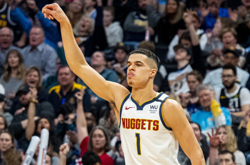 DENVER, CO - JANUARY 26: Michael Porter Jr. #1 of the Denver Nuggets reacts after making a three point basket at Pepsi Center on January 26, 2020 in Denver, Colorado. NOTE TO USER: User expressly acknowledges and agrees that, by downloading and/or using this photograph, user is consenting to the terms and conditions of the Getty Images License Agreement. (Photo by Timothy Nwachukwu/Getty Images)