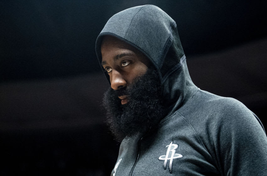 DENVER, CO - JANUARY 26: James Harden #13 of the Houston Rockets walks off the court after playing against the Denver Nuggets at Pepsi Center on January 26, 2020 in Denver, Colorado. NOTE TO USER: User expressly acknowledges and agrees that, by downloading and/or using this photograph, user is consenting to the terms and conditions of the Getty Images License Agreement. (Photo by Timothy Nwachukwu/Getty Images)