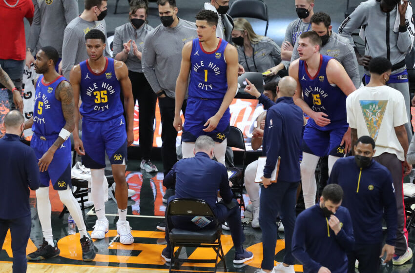 Denver Nuggets bench (Photo by Alex Menendez/Getty Images)