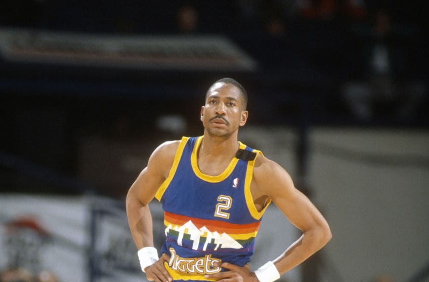 LANDOVER, MD - CIRCA 1989: Alex English #2 of the Denver Nuggets looks on against the Washington Bullets during an NBA basketball game circa 1989 at the Capital Centre in Landover, Maryland. English played for the Nuggets from 1980-90. (Photo by Focus on Sport/Getty Images)