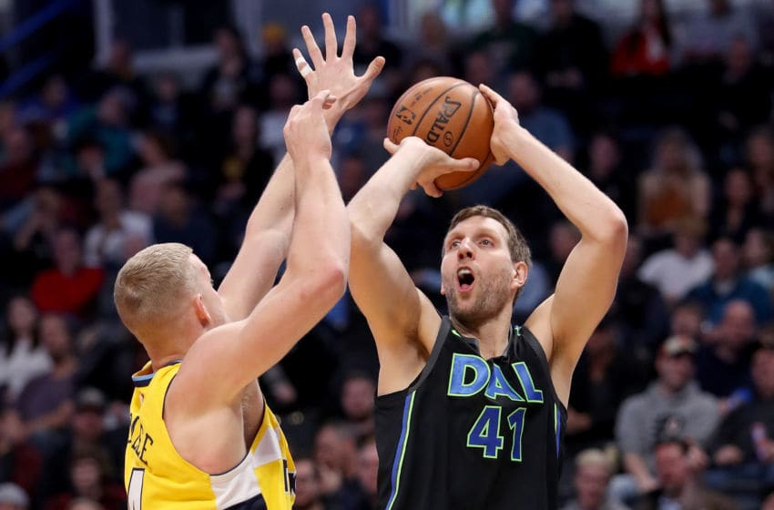 DENVER, CO - JANUARY 27: Dirk Nowitzki #41 of the Dallas Mavericks puts up a shot over Mason Plumlee #24 of the Denver Nuggets at the Pepsi Center on January 27, 2018 in Denver, Colorado. NOTE TO USER: User expressly acknowledges and agrees that, by downloading and or using this photograph, User is consenting to the terms and conditions of the Getty Images License Agreement. (Photo by Matthew Stockman/Getty Images)