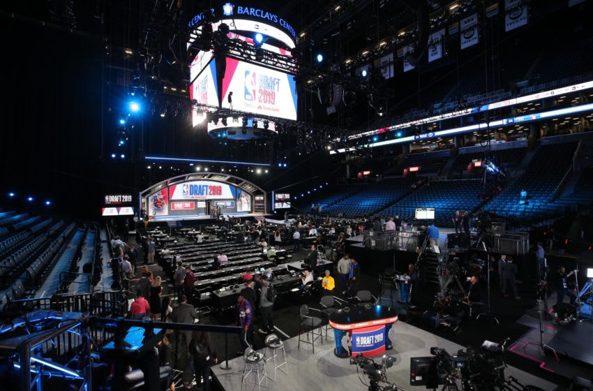 Jun 20, 2019; Brooklyn, NY, USA; General view of the Barclays Center before the 2019 NBA draft. Mandatory Credit: Brad Penner-USA TODAY Sports