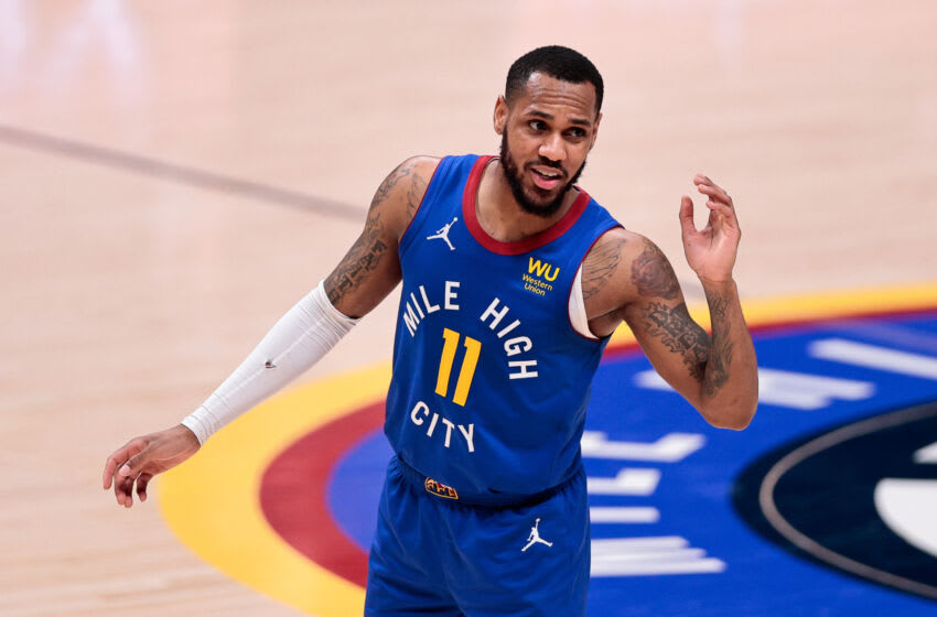 Denver Nuggets guard Monte Morris reacts in the fourth quarter against the Milwaukee Bucks at Ball Arena on 8 Feb. 2021. (Isaiah J. Downing-USA TODAY Sports)