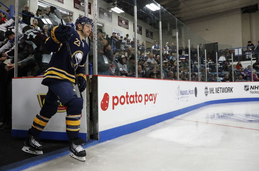 CLINTON, NY - SEPTEMBER 25: Sam Reinhart #23 of the Buffalo Sabres walks onto the rink before a preseason game against the Columbus Blue Jackets during the NHL Kraft Hockeyville USA at Clinton Arena on September 25, 2018 in Clinton, New York. (Photo by Patrick McDermott/NHLI via Getty Images)