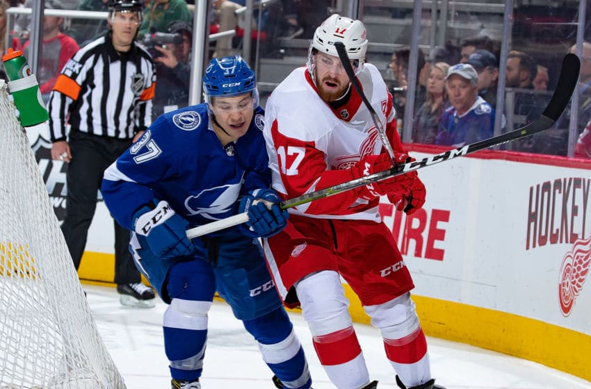 DETROIT, MI - MARCH 14: Filip Hronek #17 of the Detroit Red Wings skates around the net next to Yanni Gourde #37 of the Tampa Bay Lightning during an NHL game at Little Caesars Arena on March 14, 2019 in Detroit, Michigan. Tampa defeated Detroit 5-4. (Photo by Dave Reginek/NHLI via Getty Images)