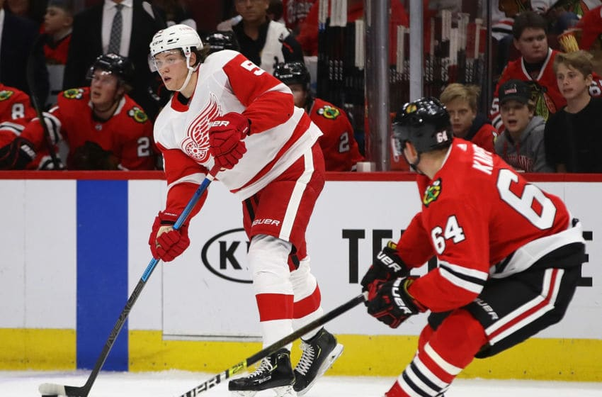 CHICAGO, ILLINOIS - SEPTEMBER 18: Moritz Seider #53 of the Detroit Red Wings looks to pass around David Kampf #64 of the Chicago Blackhawks during a preseason game at the United Center on September 18, 2019 in Chicago, Illinois. (Photo by Jonathan Daniel/Getty Images)