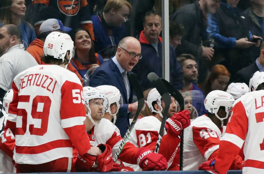 UNIONDALE, NEW YORK - JANUARY 14: Jeff Blashill, head coach of the Detroit Red Wings speaks to his team during a first period timeout during the game against the New York Islanders at NYCB Live's Nassau Coliseum on January 14, 2020 in Uniondale, New York. (Photo by Bruce Bennett/Getty Images)