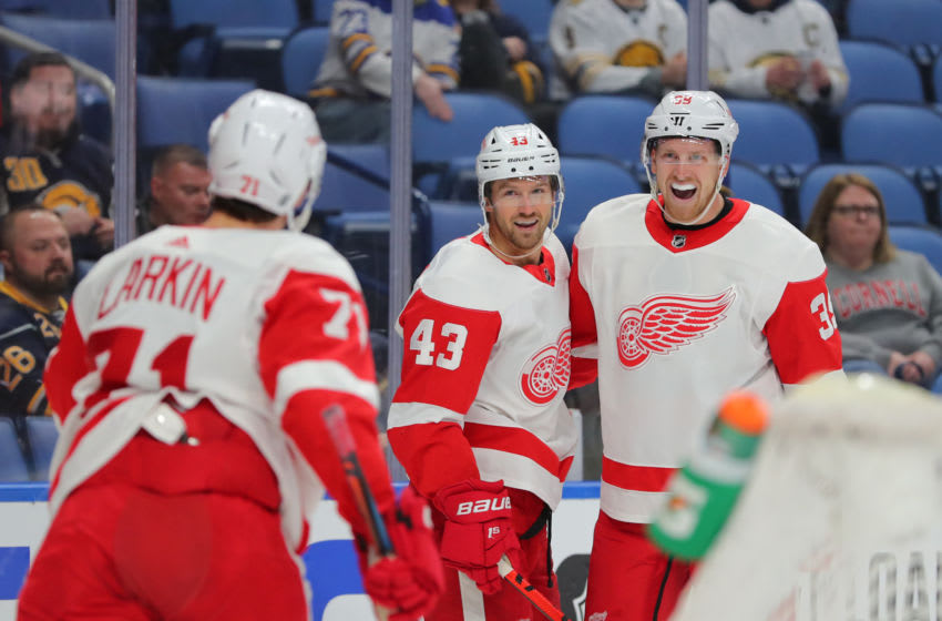 BUFFALO, NY - FEBRUARY 11: Darren Helm #43 of the Detroit Red Wings celebrates his goal with Anthony Mantha #39 during the first period against the Buffalo Sabres at KeyBank Center on February 11, 2020 in Buffalo, New York. (Photo by Timothy T Ludwig/Getty Images)