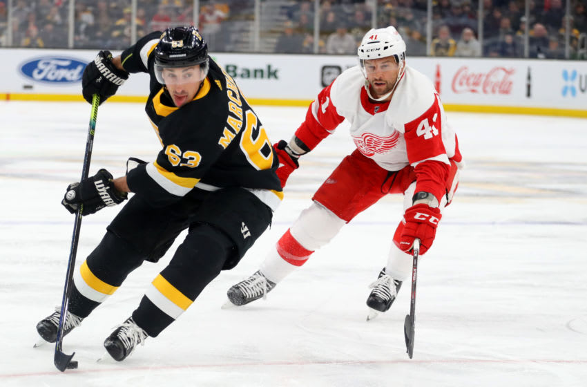 BOSTON, MASSACHUSETTS - FEBRUARY 15: Brad Marchand #63 of the Boston Bruins skates against Luke Glendening #41 of the Detroit Red Wings during the first period at TD Garden on February 15, 2020 in Boston, Massachusetts. (Photo by Maddie Meyer/Getty Images)