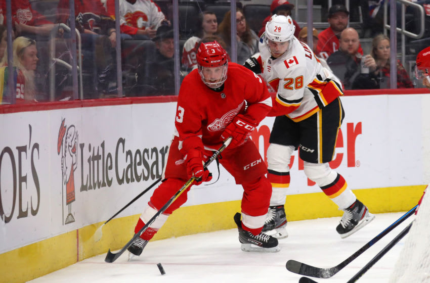 DETROIT, MICHIGAN - FEBRUARY 23: Alex Biega #3 of the Detroit Red Wings tries to control the puck in front of Elias Lindholm #28 of the Calgary Flames during the first period at Little Caesars Arena on February 23, 2020 in Detroit, Michigan. (Photo by Gregory Shamus/Getty Images)