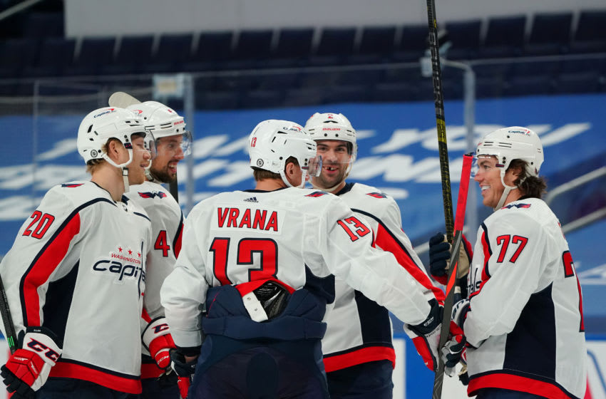 BUFFALO, NY - APRIL 9: Jakub Vrana #13 of the Washington Capitals celebrates his goal against the Buffalo Sabres during the third period at KeyBank Center on April 9, 2021 in Buffalo, New York. (Photo by Kevin Hoffman/Getty Images)