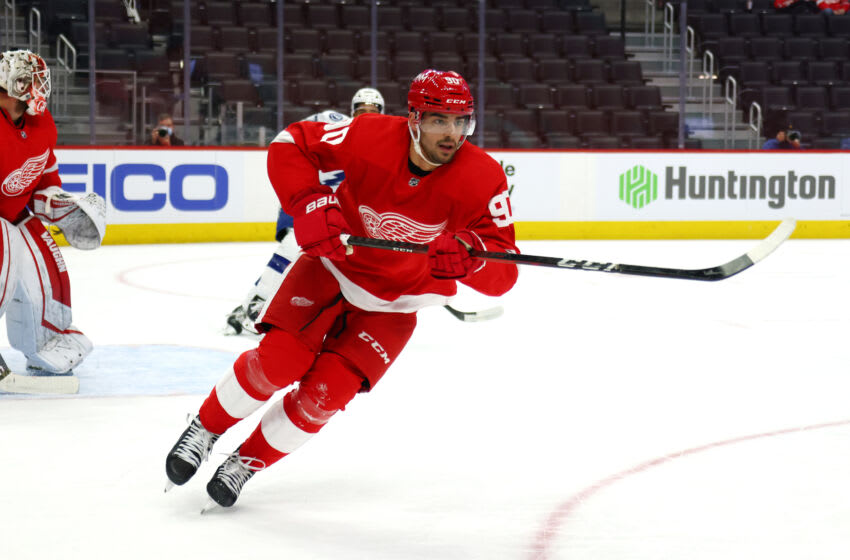DETROIT, MICHIGAN - MAY 01: Joe Veleno #90 of the Detroit Red Wings skates against the Tampa Bay Lightning at Little Caesars Arena on May 01, 2021 in Detroit, Michigan. (Photo by Gregory Shamus/Getty Images)