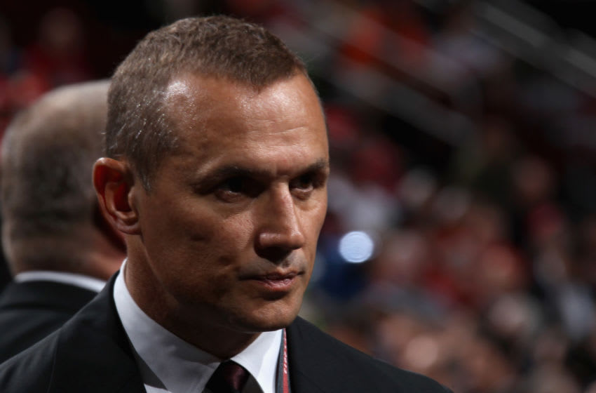 NEWARK, NJ - JUNE 30: Vice President & General Manager, Alternate Governor Steve Yzerman of the Tampa Bay Lightning looks on during the 2013 NHL Draft at the Prudential Center on June 30, 2013 in Newark, New Jersey. (Photo by Bruce Bennett/Getty Images)