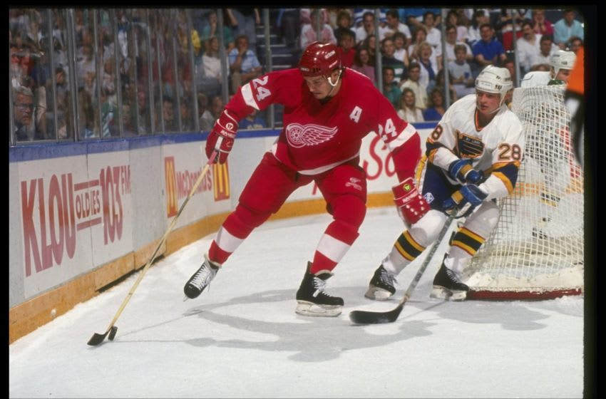 1990-91: Leftwinger Bob Probert of the Detroit Red Wings during their game versus the St. Louis Blues at St. Louis Arena in St. Louis, Missouri. Mandatory Credit: ALLSPORT USA /Allsport