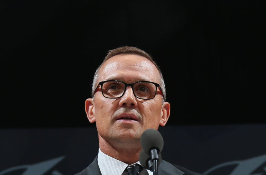 CHICAGO, IL - JUNE 23: Steve Yzerman of the Tampa Bay Lightning attends the 2017 NHL Draft at the United Center on June 23, 2017 in Chicago, Illinois. (Photo by Bruce Bennett/Getty Images)