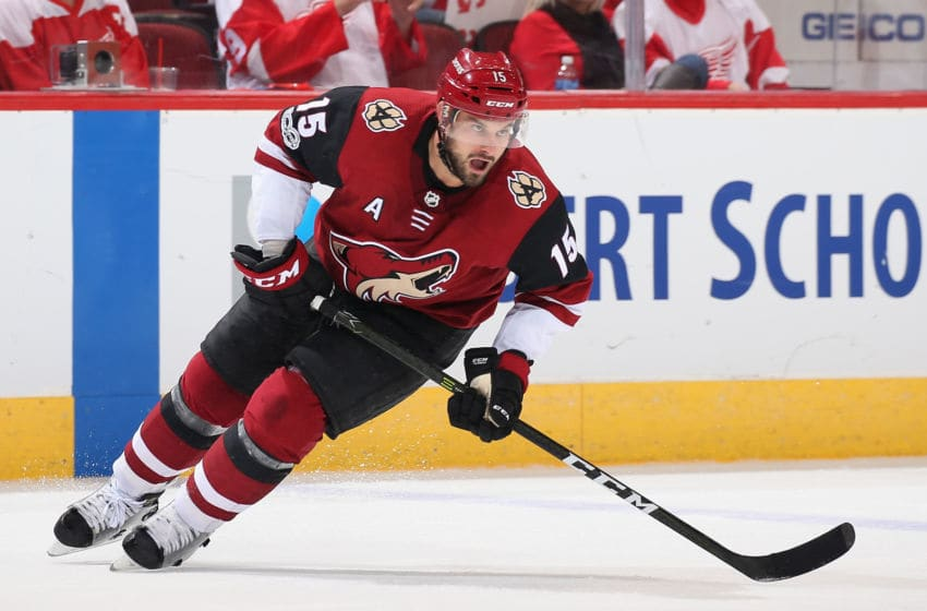 GLENDALE, AZ - OCTOBER 12: Brad Richardson #15 of the Arizona Coyotes in action during the third period of the NHL game against the Detroit Red Wings at Gila River Arena on October 12, 2017 in Glendale, Arizona. The Red Wings defeated the Coyotes 4-2. (Photo by Christian Petersen/Getty Images)