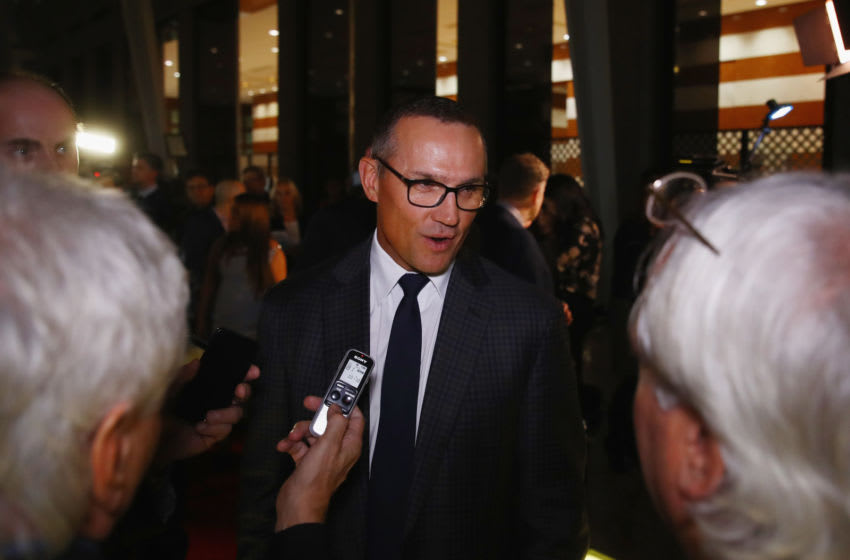 TORONTO, ON - NOVEMBER 13: Steve Yzerman speaks with the media on the red carpet prior to the Hockey Hall of Fame induction ceremony at Brookfield Place on November 13, 2017 in Toronto, Canada. (Photo by Bruce Bennett/Getty Images)