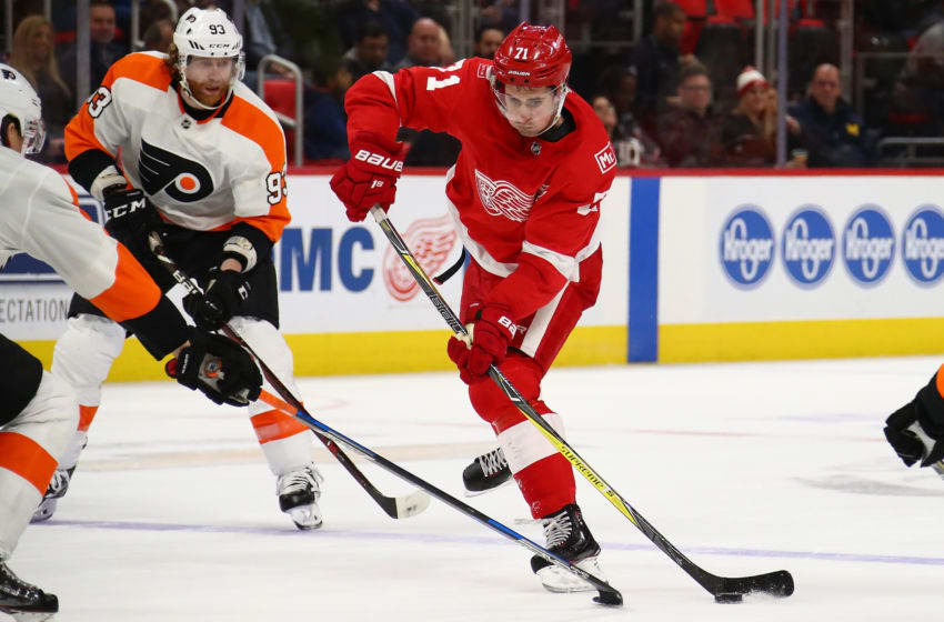 DETROIT, MI - JANUARY 23: Dylan Larkin #71 of the Detroit Red Wings takes a shot while playing the Philadelphia Flyers at Little Caesars Arena on January 23, 2018 in Detroit, Michigan. (Photo by Gregory Shamus/Getty Images)