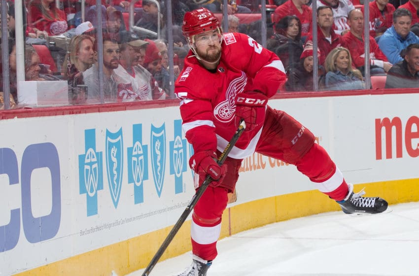 DETROIT, MI - FEBRUARY 06: Mike Green #25 of the Detroit Red Wings shoots the puck against the Boston Bruins during an NHL game at Little Caesars Arena on February 6, 2018 in Detroit, Michigan. The Bruins defeated the Wings 3-2. (Photo by Dave Reginek/NHLI via Getty Images)