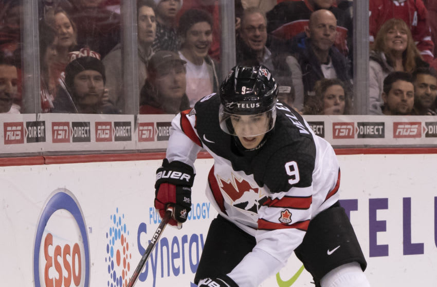 VANCOUVER, BC - DECEMBER 31: Joe Veleno #9 of Canada skates with the puck against Russia in Group A hockey action of the 2019 IIHF World Junior Championship on December, 31, 2018 at Rogers Arena in Vancouver, British Columbia, Canada. (Photo by Rich Lam/Getty Images)