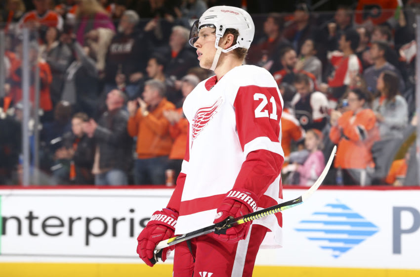 PHILADELPHIA, PA - NOVEMBER 29: Dennis Cholowski #21 of the Detroit Red Wings looks on after the game against the Philadelphia Flyers at the Wells Fargo Center on November 29, 2019 in Philadelphia, Pennsylvania. The Flyers defeated the Red Wings 6-1. (Photo by Mitchell Leff/Getty Images)