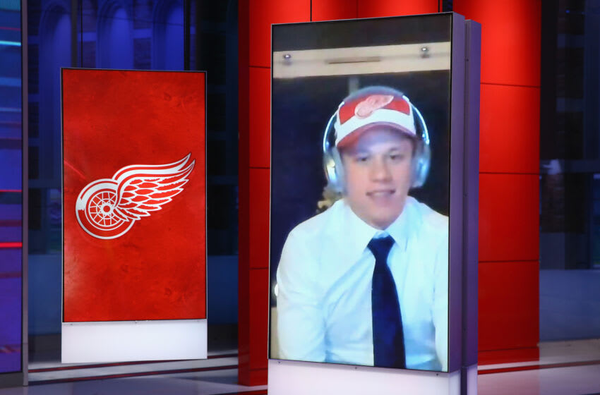 SECAUCUS, NEW JERSEY - OCTOBER 06: With the fourth pick of the 2020 NHL Draft, Lucas Raymond from Frolunda Sweden is selected by the Detroit Red Wings at the NHL Network Studio on October 06, 2020 in Secaucus, New Jersey. (Photo by Mike Stobe/Getty Images)