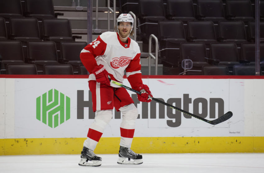 DETROIT, MICHIGAN - FEBRUARY 20: Jon Merrill #24 of the Detroit Red Wings skates against the Florida Panthers at Little Caesars Arena on February 20, 2021 in Detroit, Michigan. (Photo by Gregory Shamus/Getty Images)