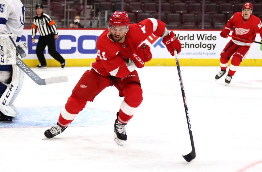 DETROIT, MICHIGAN - MARCH 11: Luke Glendening #41 of the Detroit Red Wings skates against the Tampa Bay Lightning at Little Caesars Arena on March 11, 2021 in Detroit, Michigan. (Photo by Gregory Shamus/Getty Images)