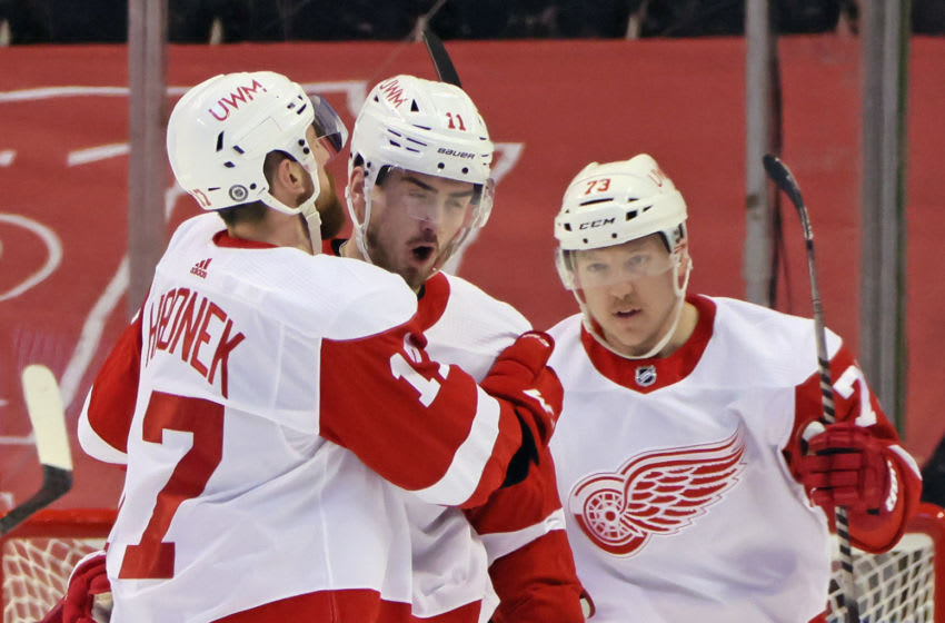 SUNRISE, FLORIDA - MARCH 30: Filip Zadina #11 of the Detroit Red Wings (C) celebrates his powerplay goal at 7:29 of the second period against Sergei Bobrovsky #72 of the Florida Panthers and is joined by Filip Hronek #17 (L) and Adam Erne #73 (R) at the BB&T Center on March 30, 2021 in Sunrise, Florida. (Photo by Bruce Bennett/Getty Images)