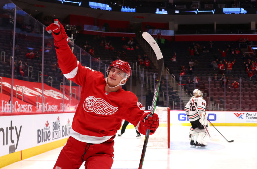 DETROIT, MICHIGAN - APRIL 15: Jakub Vrana #15 of the Detroit Red Wings celebrates his second period goal while playing the Chicago Blackhawks at Little Caesars Arena on April 15, 2021 in Detroit, Michigan. (Photo by Gregory Shamus/Getty Images)