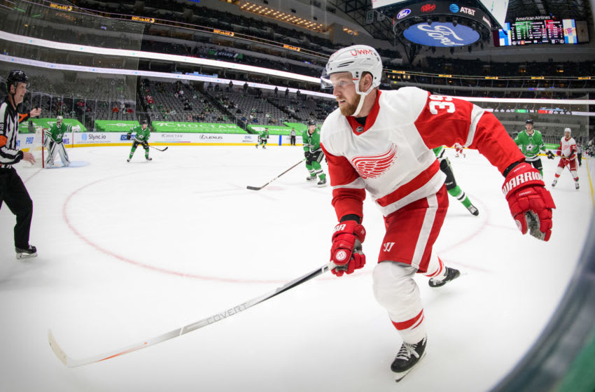 Jan 26, 2021; Dallas, Texas, USA; Detroit Red Wings right wing Anthony Mantha (39) in action during the game between the Dallas Stars and the Detroit Red Wings at the American Airlines Center. Mandatory Credit: Jerome Miron-USA TODAY Sports