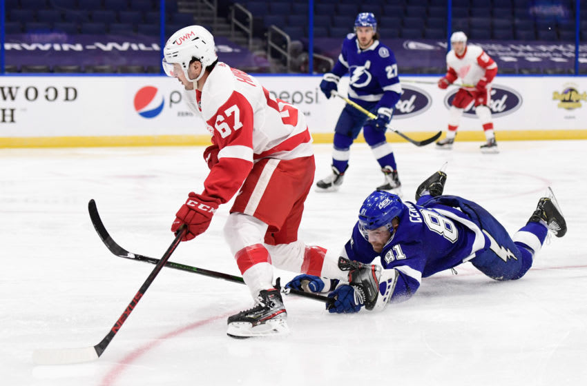 Feb 3, 2021; Tampa, Florida, USA; Detroit Red Wings left wing Taro Hirose (67) handles the puck as Tampa Bay Lightning defenseman Erik Cernak (81) defends from behind during the second period at Amalie Arena. Mandatory Credit: Douglas DeFelice-USA TODAY Sports
