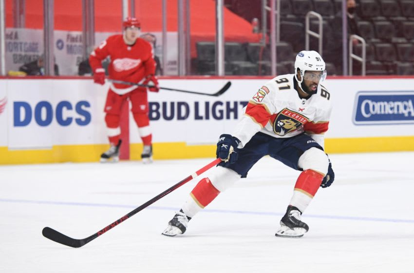 Feb 19, 2021; Detroit, Michigan, USA; Florida Panthers left wing Anthony Duclair (91) during the third period against the Detroit Red Wings at Little Caesars Arena. Mandatory Credit: Tim Fuller-USA TODAY Sports