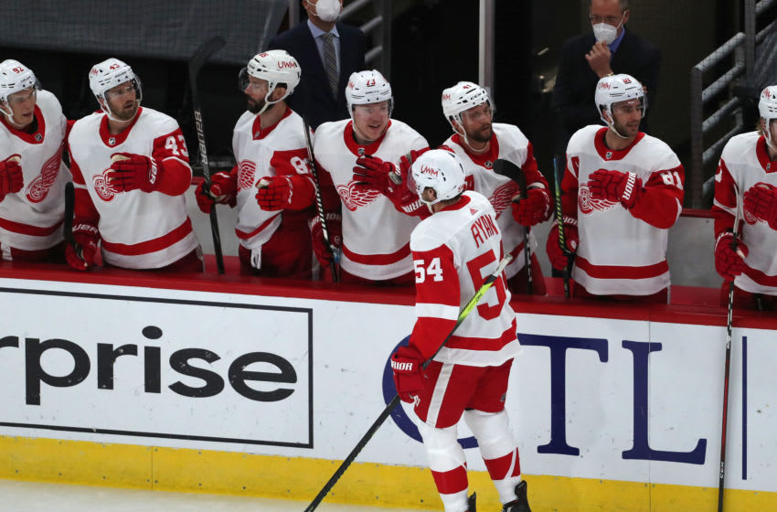 Feb 27, 2021; Chicago, Illinois, USA; Detroit Red Wings right wing Bobby Ryan (54) is congratulated for scoring a goal during the first period against the Chicago Blackhawks at the United Center. Mandatory Credit: Dennis Wierzbicki-USA TODAY Sports