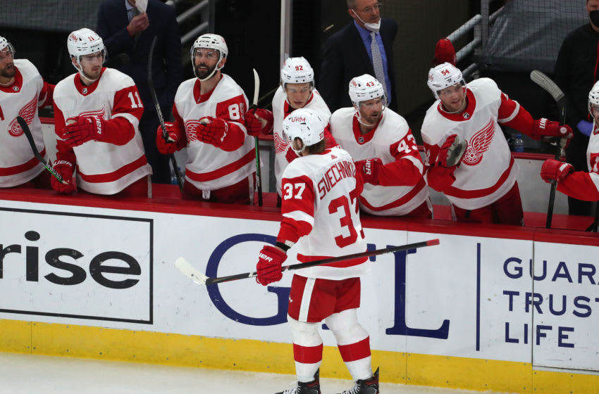 Feb 27, 2021; Chicago, Illinois, USA; Detroit Red Wings forward Evgeny Svechnikov (37) is congratulated for scoring a goal during the third period against the Chicago Blackhawks at the United Center. Mandatory Credit: Dennis Wierzbicki-USA TODAY Sports