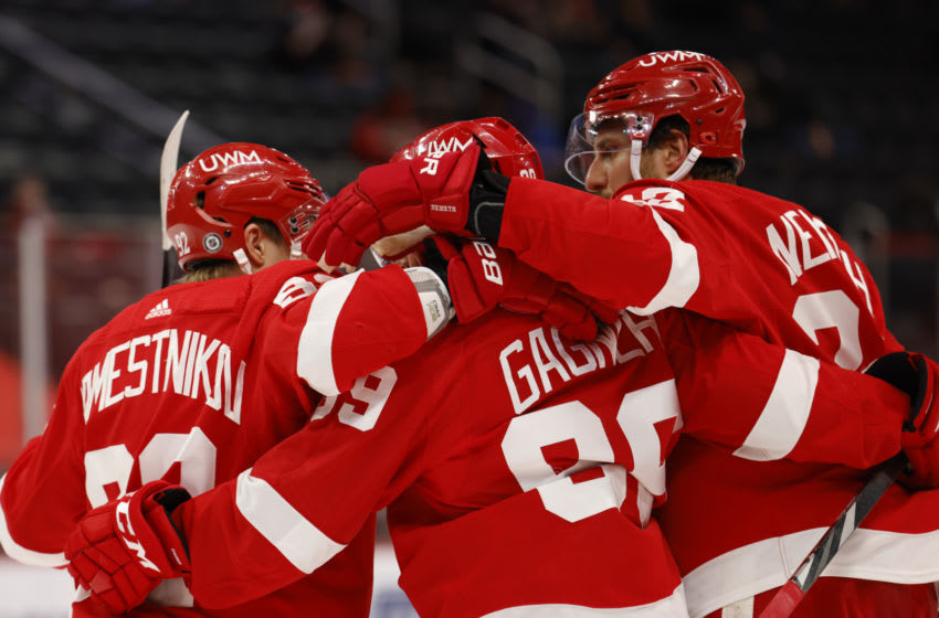 Mar 9, 2021; Detroit, Michigan, USA; Detroit Red Wings defenseman Patrik Nemeth (22) is congratulated by teammates after scoring in the second period against the Tampa Bay Lightning at Little Caesars Arena. Mandatory Credit: Rick Osentoski-USA TODAY Sports
