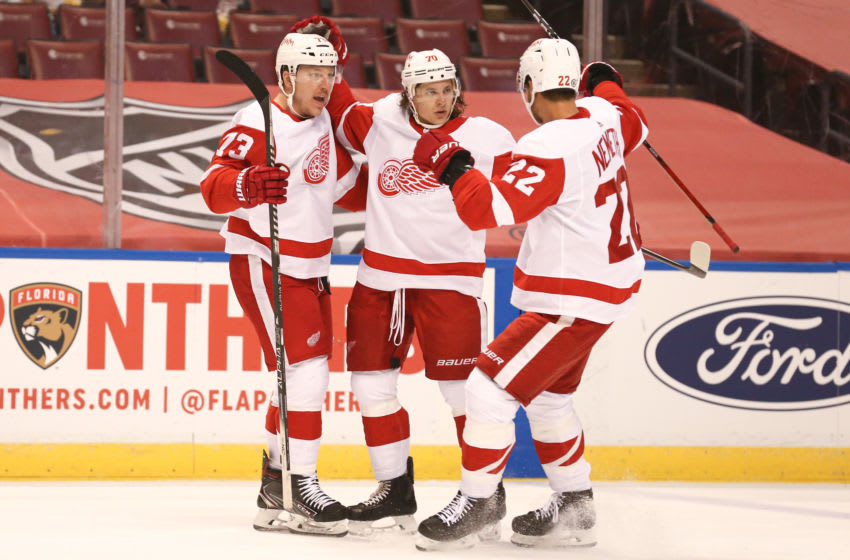 Apr 1, 2021; Sunrise, Florida, USA; Detroit Red Wings defenseman Troy Stecher (70) celebrates after scoring a goal against the Florida Panthers with Detroit Red Wings left wing Adam Erne (73) and defenseman Patrik Nemeth (22) during the first period at BB&T Center. Mandatory Credit: Sam Navarro-USA TODAY Sports