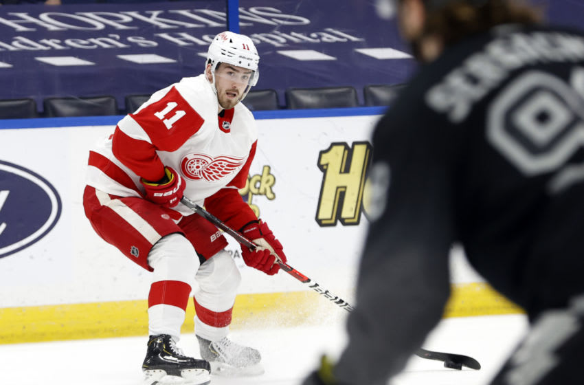 Apr 3, 2021; Tampa, Florida, USA;Detroit Red Wings right wing Filip Zadina (11) skates with the puck against the Tampa Bay Lightning during the second period at Amalie Arena. Mandatory Credit: Kim Klement-USA TODAY Sports