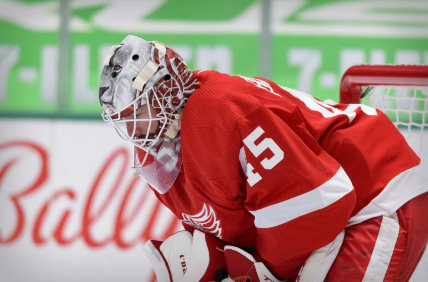 Apr 20, 2021; Dallas, Texas, USA; Detroit Red Wings goaltender Jonathan Bernier (45) waits for play to resume against the Dallas Stars during the second period at the American Airlines Center. Mandatory Credit: Jerome Miron-USA TODAY Sports
