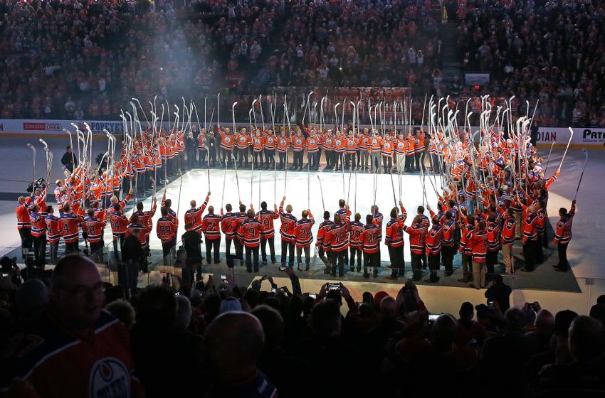 Apr 6, 2016; Edmonton, Alberta, CAN; 180+ former Edmonton Oilers salute the fans one last time during the closing ceremonies at Rexall Place. Mandatory Credit: Perry Nelson-USA TODAY Sports